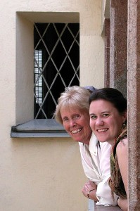Mary Ann and Irene in the courtyard of Mozart's Birth House in Salzburg.