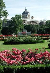 Volksgarten in front of Vienna's Art History Museum