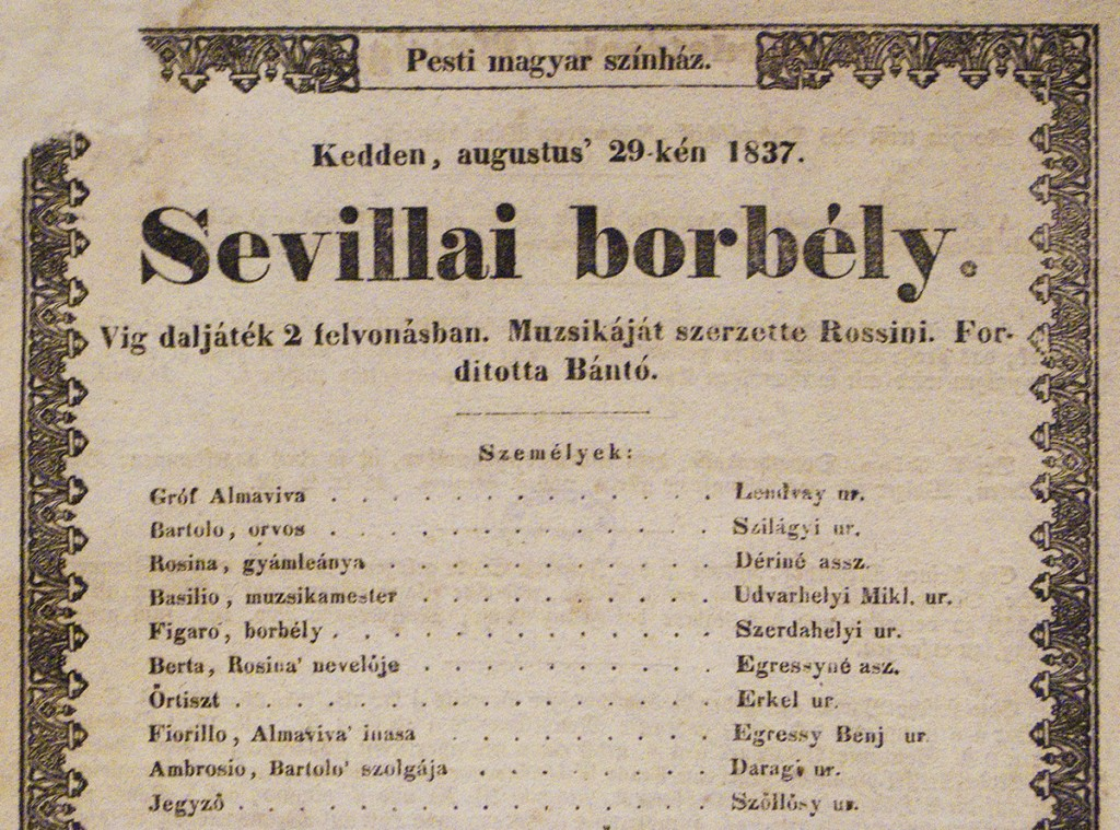 poster from 1837 performance of Rossini's Barber of Seville