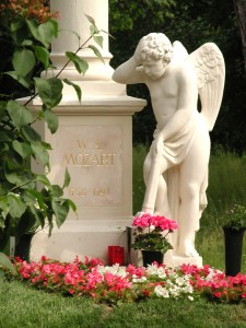 angel in mourning beside Mozart's unmarked grave