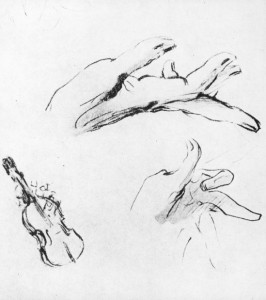 Sketch of Niccolò Paganini's hands