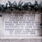 Josef Mohr's historical birth house plaque