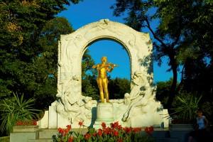 "The well-known ""golden"" statue of Johann Strauss, Jr. in Vienna's Stadtpark."