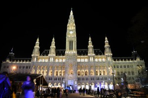 Vienna's Rathaus (City Hall) lit up for Ice Skating