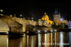 Prague's Charles Bridge at night