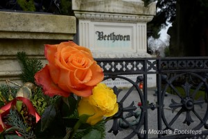 Flowers in front of Beethoven's grave in the Central Cemetery in Vienna. We'll visit it.