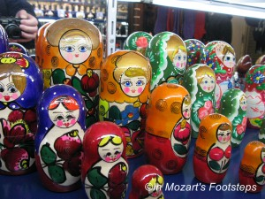 One of the souvenirs you can buy in Prague are there Russian dolls.