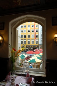 Mozart's Birth House seen from a restaurant across the square.