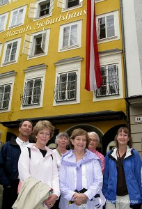 Travelers with In Mozart's Footsteps in front of Mozart's Birth House in Salzburg