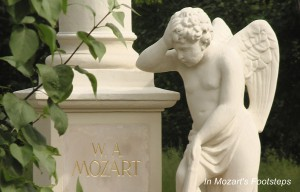 The Mozart monument in the approximate location of his grave site in Vienna's St. Marx Cemetery