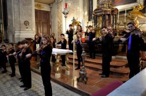 A Suzuki violin orchestra performs in Vienna's Schonbrunn Palace.